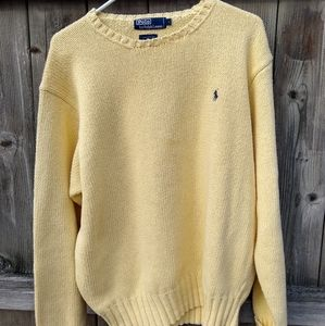 💛Polo by Ralph Lauren Yellow Cotton Sweater Sz L